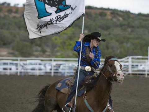 Kicking off the Ute Mountain Round Up Rodeo