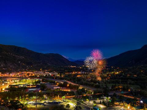 Fireworks lighting up the sky over Glenwood Springs