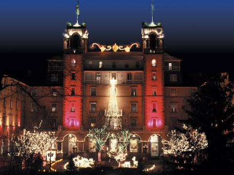 Holiday lights glowing at The Hotel Colorado in Glenwood Springs